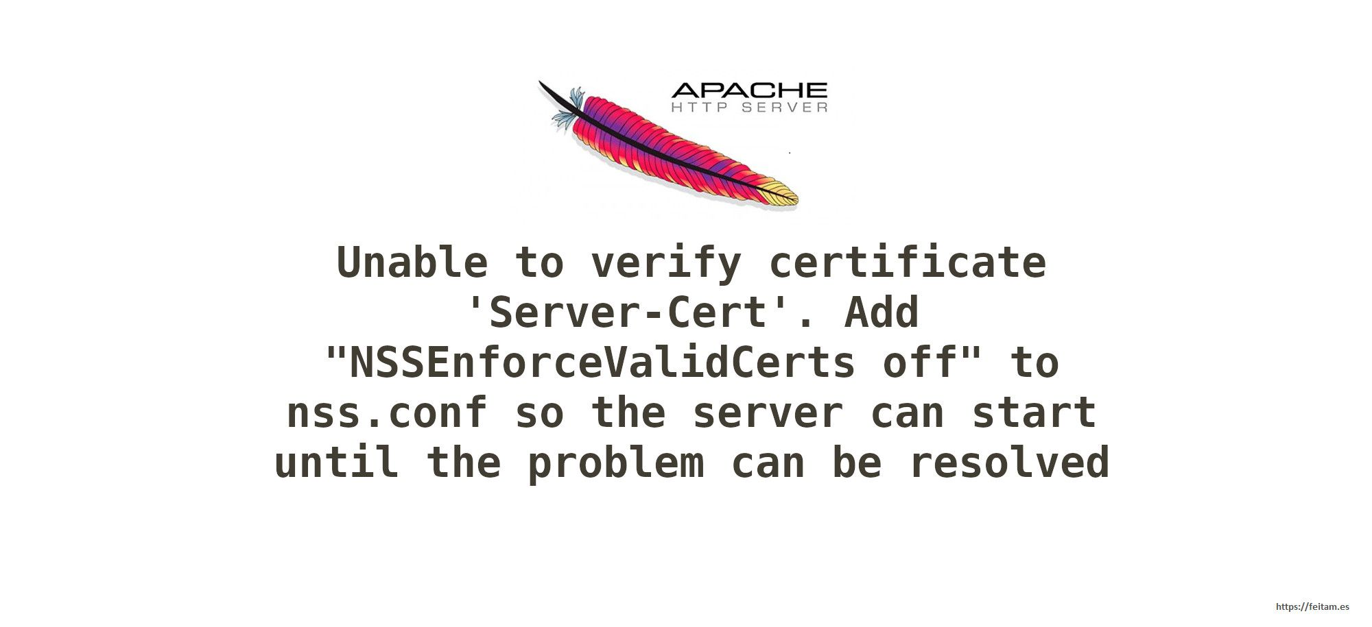 "Unable to verify certificate 'Server-Cert'. Add ""NSSEnforceValidCerts off"" to nss.conf so the server can start until the problem can be resolved"